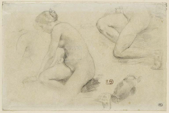 Eugène Delacroix (1798-1863) 'Study of naked woman in profile on the left' Nd