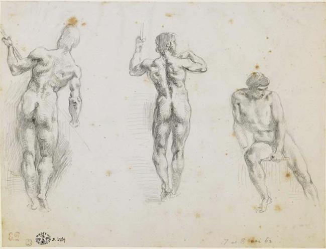 Eugène Delacroix(1798-1863) 'Three studies of men' Nd