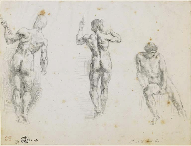 Eugène Delacroix (1798-1863) 'Three studies of men' Nd