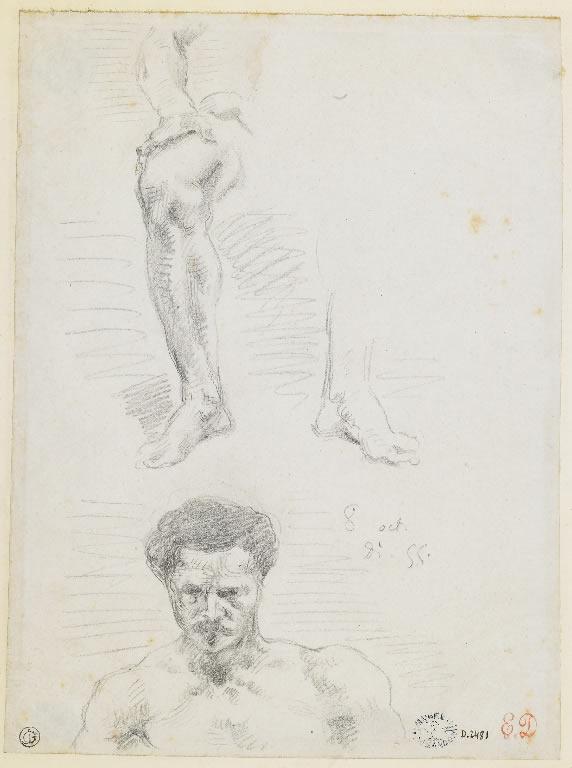 """Eugène Delacroix. """"Etude de jambes d'homme assis et étude d'une tête"""" nd"""