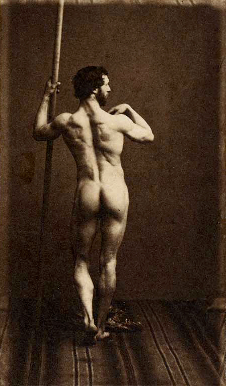 Eugène Durieu (1800-1874) 'Naked man standing, back, holding a vertical stick' Nd