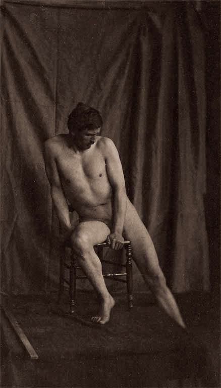 Eugène Durieu (1800-1874) 'Naked man sitting on a chair' Nd
