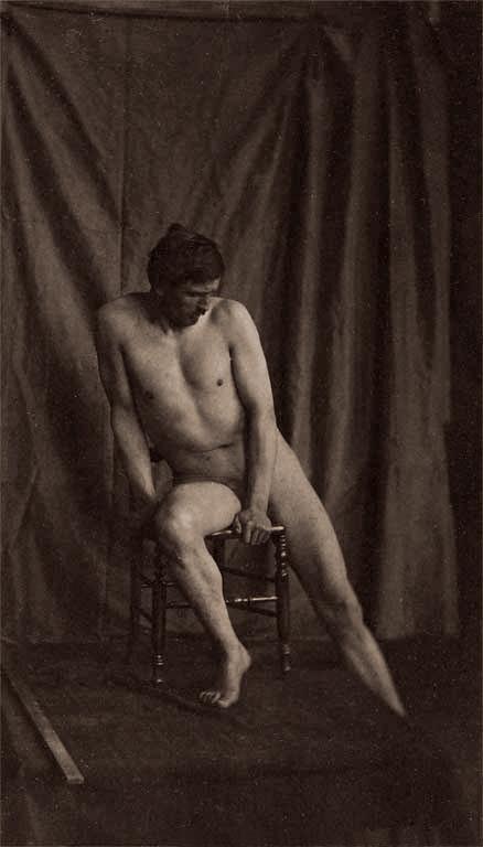 Eugène Durieu(1800-1874) 'Naked man sitting on a chair' Nd