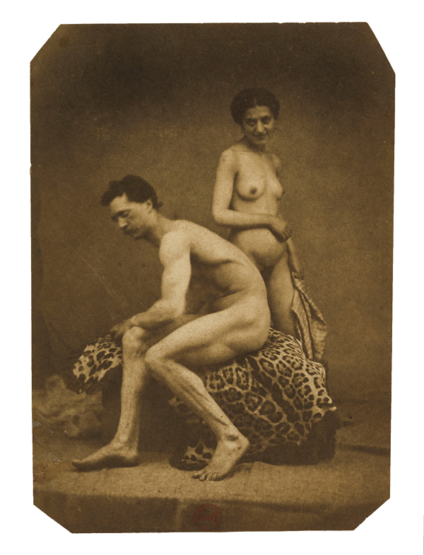 Eugène Durieu (1800-1874) 'Nude couple: female nude standing in the background, male nude sitting in profile on a leopard skin' 1854