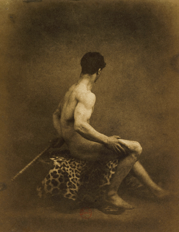 Eugène Durieu (1800-1874) 'Model of male nude sitting in profile on a leopard skin' 1854