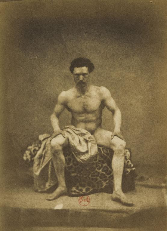 Eugene Durieu. 'Nu masculin assis de face, les jambes écartées' nd