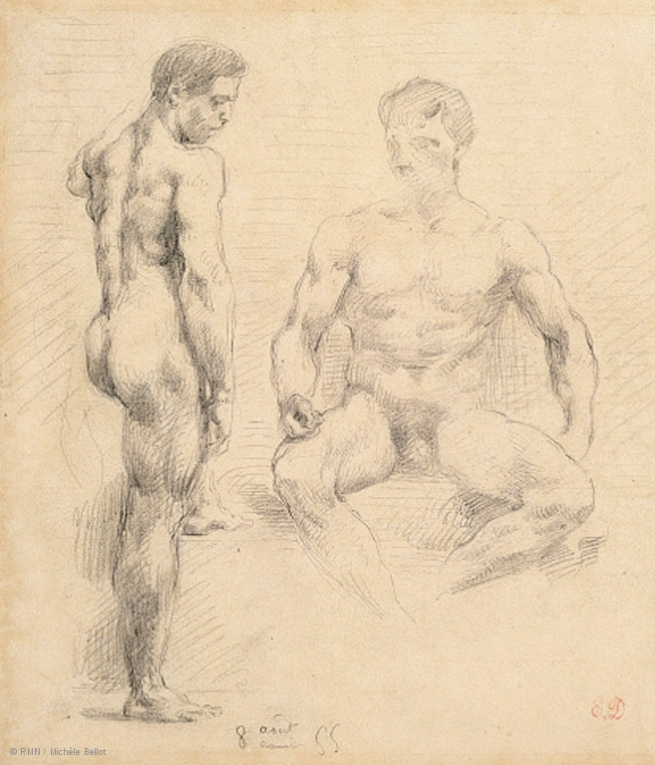 Eugène Delacroix (1798-1863) 'Two studies of naked men one standing, the other sitting' Nd
