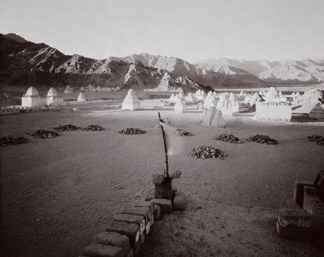 "Linda Connor. ""Prayer Flag and Chortens, Ladakh, India 1988"""