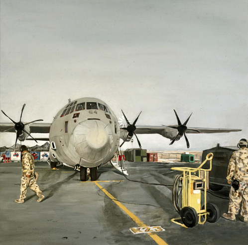 "Lyndell Brown and Charles Green. ""Late afternoon, flight line, military installation, Middle East"" 2007"