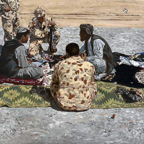 "Lyndell Brown and Charles Green. ""Market, Camp Holland, Tarin Kowt, Uruzgan province, Afghanistan."" 2007"
