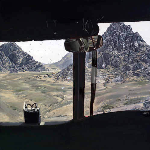 "Lyndell Brown and Charles Green. ""View from Chinook, Helmand province, Afghanistan."" 2007"