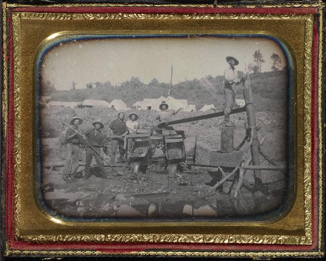 Carleton Watkins(American, 1829-1916) (attributed) 'Placer Mining Scene' c. 1852-55