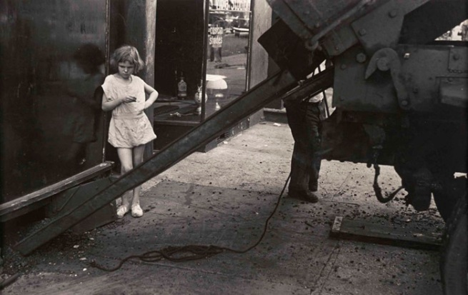 Homer Page, American (1918-1985). New York, August 11, 1949 (girl and coal chute) Gelatin silver print