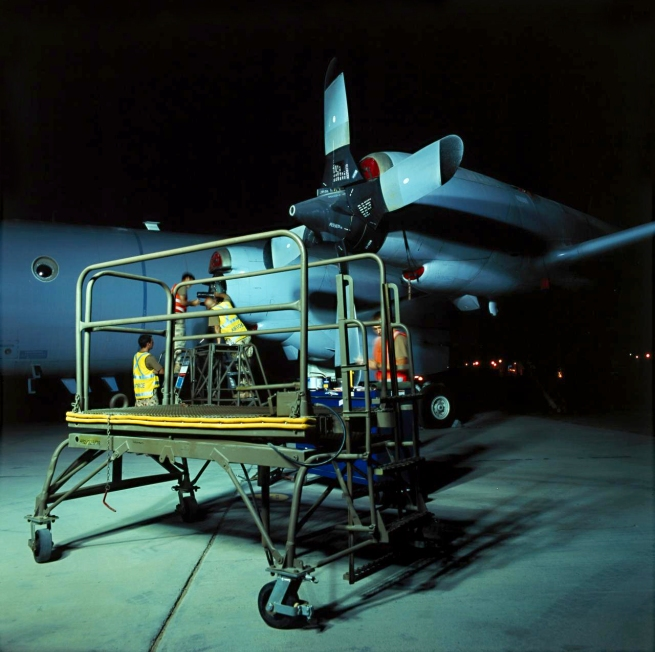 Lyndell Brown and Charles Green. 'Trolley, propeller change, on flightline at night, military installation, Gulf' 2007-2008