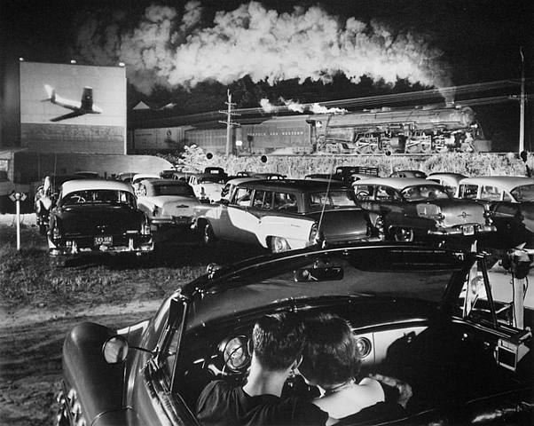 "O. Winston Link. ""Hot Shot Eastbound, at the Iaeger Drive-In. W.V."" 1956"