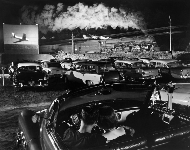 O. Winston Link. 'Hot Shot Eastbound, at the Iaeger Drive-In. W.V. Aug. 2, 1956'