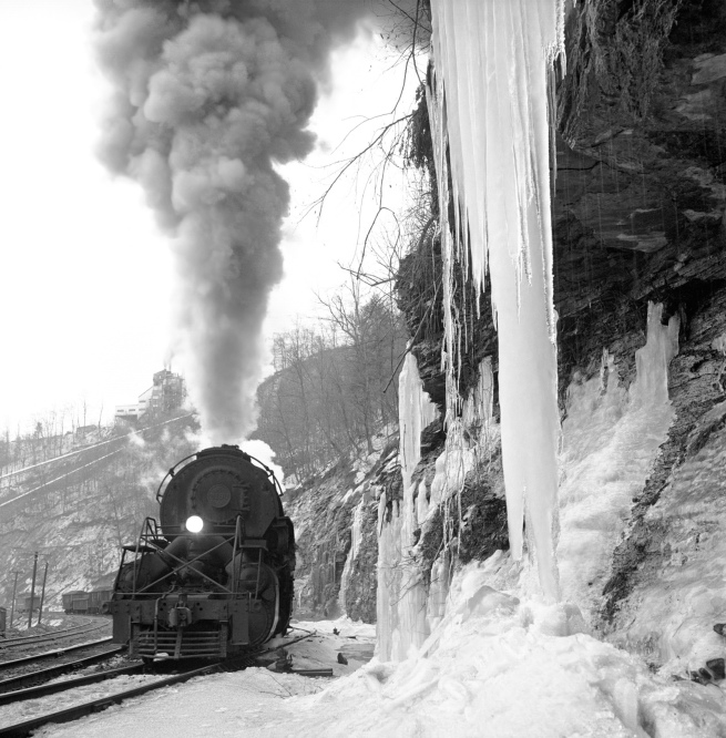 """O. Winston Link(American, 1914-2001) '""""Second Pigeon Creek Shifter and Icicles,"""" near Gilbert, W.Va., March 16, 1960'"""