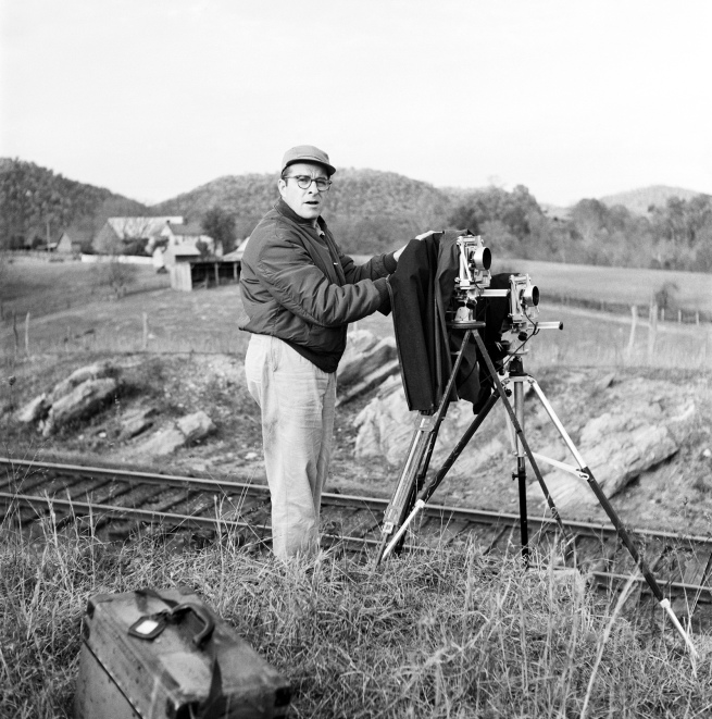 "Unknown photographer. '""Link Sets Up Two View Cameras at Bridge 8,"" Watauga, Va., Nov. 1, 1957'"