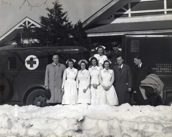 Addison Scurlock (American, 1883-1964) 'Charles Drew with the first mobile blood collecting unit [Charles Drew and Red Cross Medical Team]' February 1941