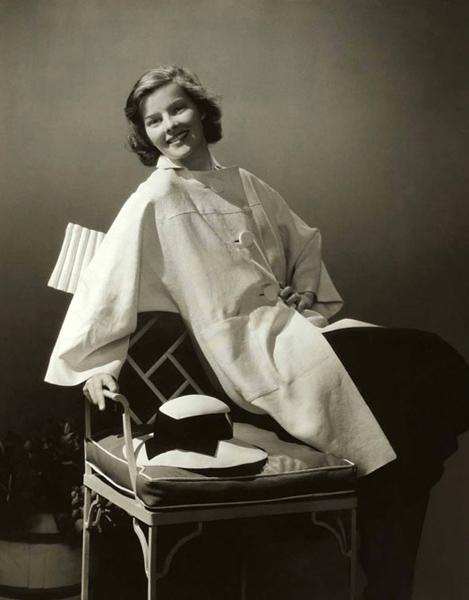 "Edward Steichen. ""Katherine Hepburn wearing a coat by Clare Potter."" 1933"