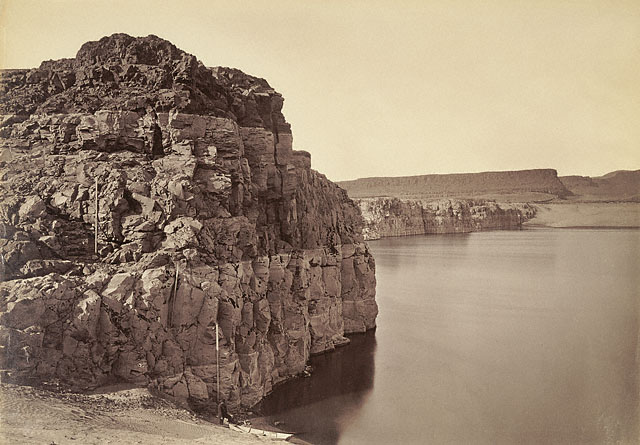 "Carleton Watkins. ""The Dalles, Extremes of High & Low Water, 92 ft"" 1883"
