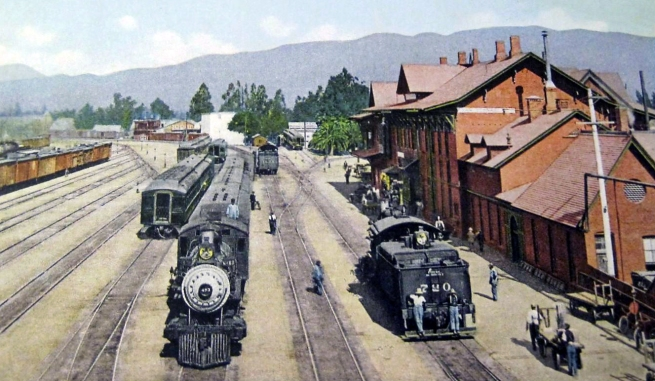 Unknown artist. 'Santa Fe station and yards, San Bernardino, California' c. 1910