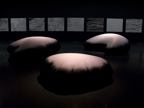 Yayoi Kusama. 'Clouds' 1999 and 'Love Forever' 2005