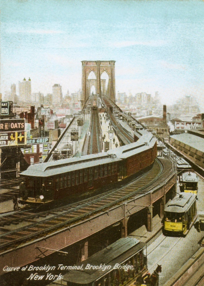 Unknown Artist. 'Curve at Brooklyn Terminal, Brooklyn Bridge, New York' 1907