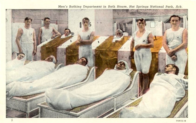 Unknown artist. 'Men's Bathing Department, Bath House, Hot Springs National Park, Ark.' 1920s