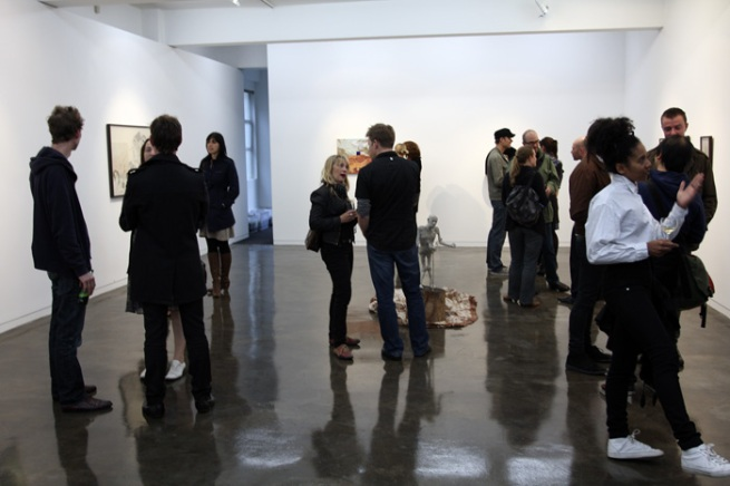 Richard Grigg. 'New work' opening night crowd at Block Projects, Melbourne