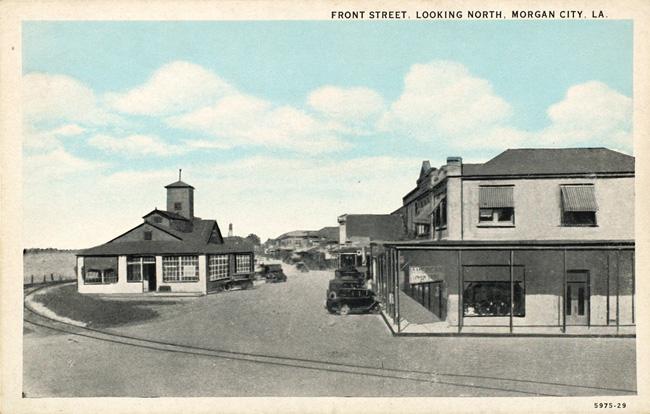 Unknown Artist. 'Front Street, Looking North, Morgan City, LA' 1929