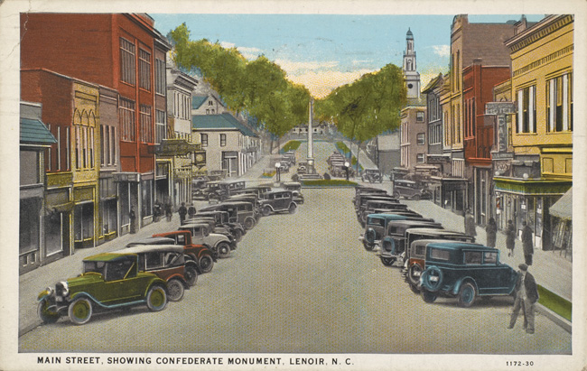 Unknown artist. 'Main Street, Showing Confederate Monument, Lenoir, N. C.,' 1930s
