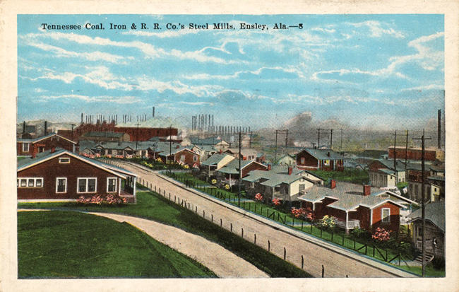 Unknown artist. 'Tennessee Coal, Iron, & R. R. Co.'s Steel Mills, Ensley, Ala.,' 1920s
