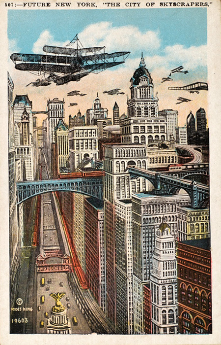 Unknown Artist. 'Future New York, The City of Skyscrapers' 1910s