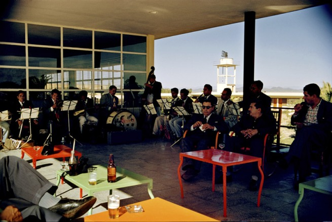 Paul Outerbridge. 'Airport Cafe with Band, Mexico' c.1950