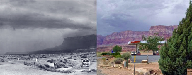 Mark Klett and Byron Wolfe. 'Seventy-one Years after Edward Weston's Storm, Arizona from Marble Canyon Trading Post' 2007