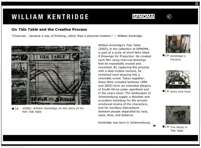 William Kentridge videos from the SFMOMA exhibition website