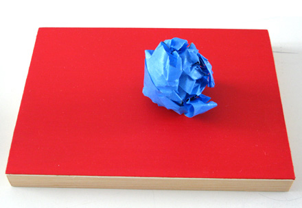 David Thomas. 'Length of Time Series: Blue tape on red monochrome' 2009
