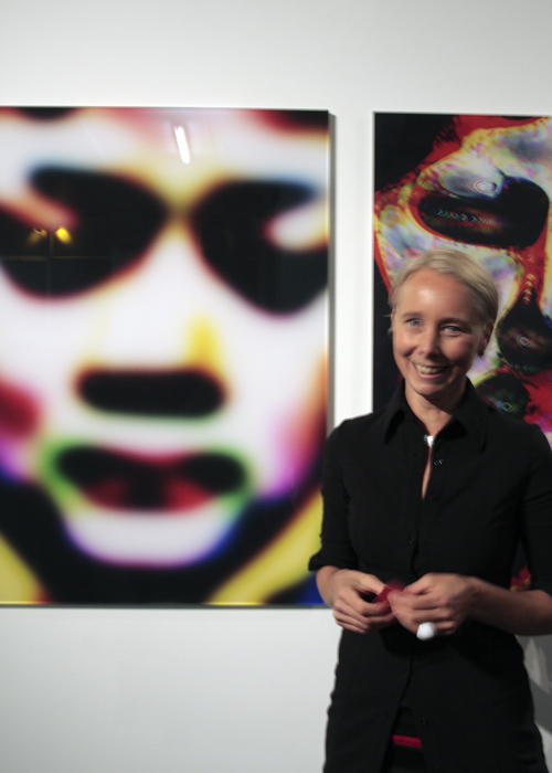The radiant Nicola Loder in front of one of her works
