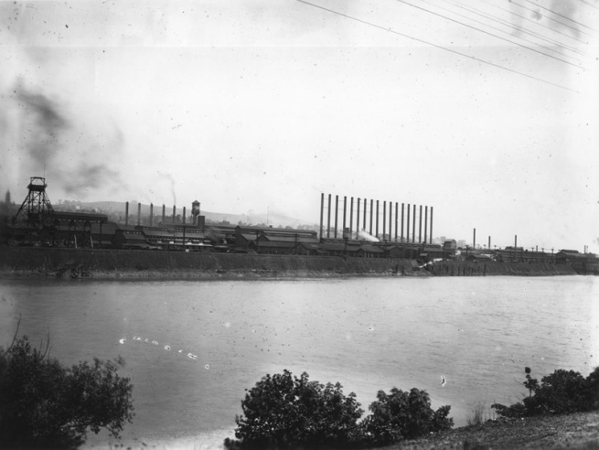 A shot of the Wire Works Acid Plant from across the Monongahela River nd