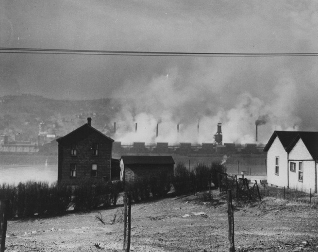 Looking toward the Zinc Works in Donora, PA from Webster, PA, 1948