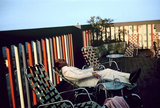 Paul Outerbridge. 'Self-portrait on Lounge, Oceanside Resort, California' c. 1950