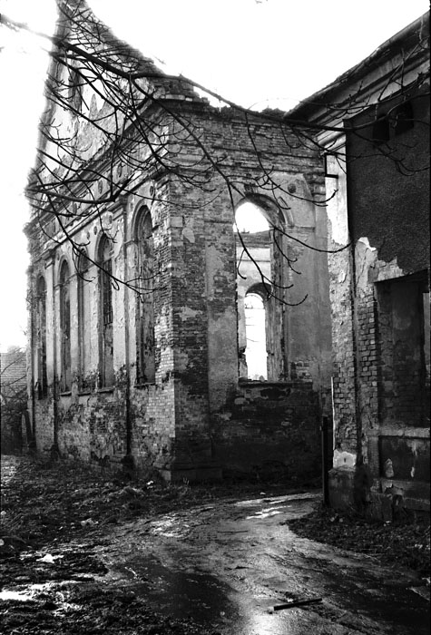 Jeff Gusky. 'Desecrated Synagogue and Jewish School' Dzialoszyce, Poland 1999