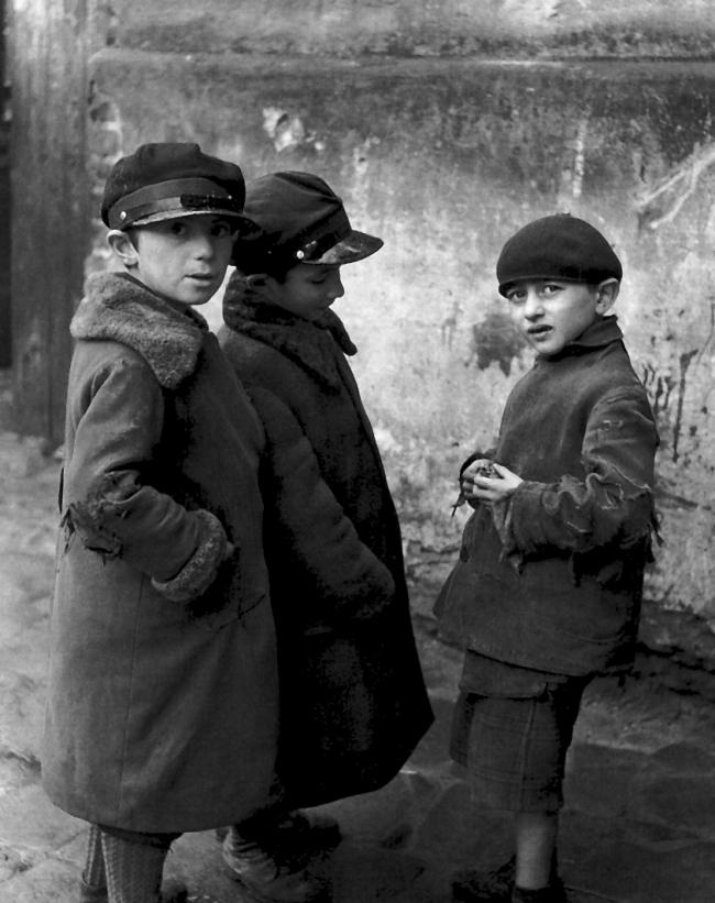 Roman Vishniac (1897-1990) 'Young Jewish boys suspicious of strangers, Mukachevo' c. 1935-38