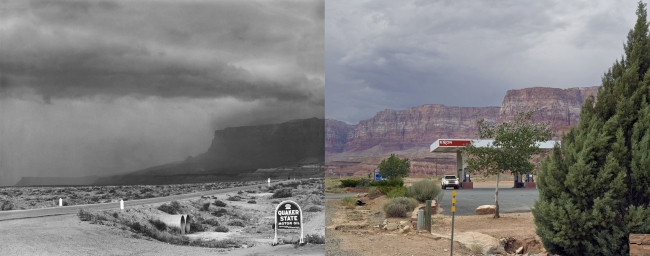 "Mark Klett and Byron Wolfe. 'Sixty-six years after Edward Weston's ""Storm, Arizona"" From the Marble Canyon Trading Post' 2007"