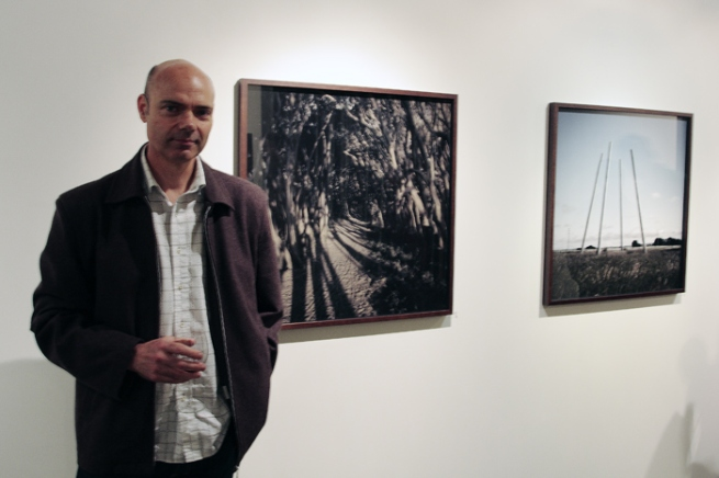 John Bodin in front of his work at the opening of his exhibition 'Urban Edge' at Anita Traverso Gallery, Melbourne