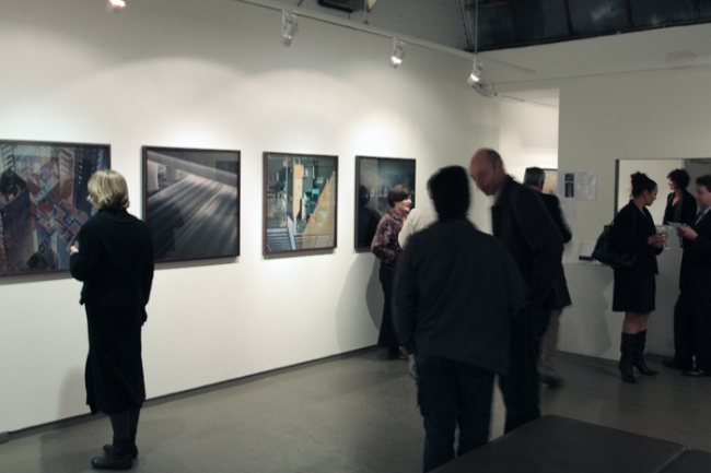 Opening night crowd for John Bodin exhibition at Anita Traverso Gallery, Melbourne