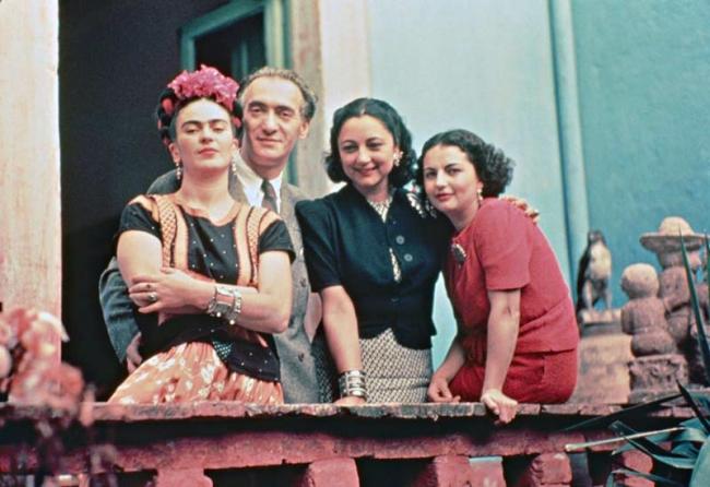 Nickolas Muray(American, 1892-1965) 'Frida with her sister Cristina, Nickolas Muray, and Rosa Covarrubias, Coyoacán' 1939