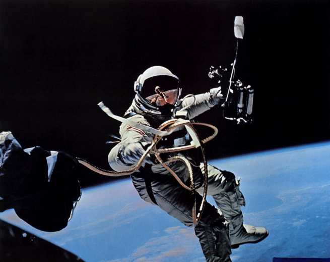 James McDivitt (American, 1929- , photographer) 'Astronaut Edward H. White, Gemini 4, June 1965' 1965