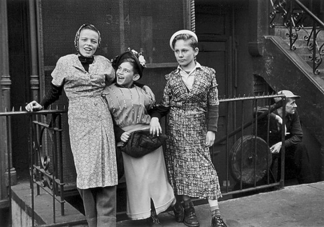 Helen Levitt (American, 1913-2009) 'Three Girls Playing Dress Up, New York' c. 1940